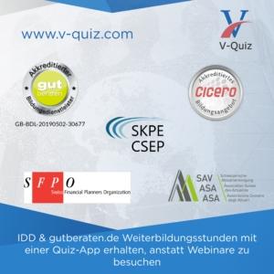 Akkreditierungen für IDD Stunden der Online App V-Quiz